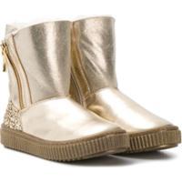 Missouri Kids Ankle Boot Com Zíper De Couro - Dourado