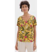 Blusa Floral Com Gola V