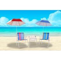 Kit Praia 2 Cadeiras +2 Guarda Sol+ Carrinho Mesa Bel Lazer - Unissex