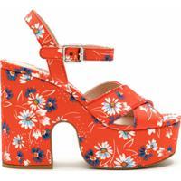 Miu Miu Sandália Plataforma Floral - Vermelho