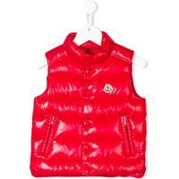 Moncler Kids Colete Matelassê Com Logo - Vermelho