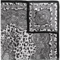 Moschino Lenço De Seda E Renda Com Estampa De Leopardo - Preto