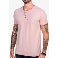 Camiseta Henley Rosa 102974