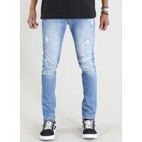 75e3689f9 CEA; Calça Jeans Masculina Skinny Com Rasgos Azul Claro