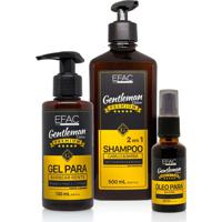 Kit Shampoo 2 Em 1 + Óleo Para Barba + Gel Para Barbear Efac Gentleman Edition