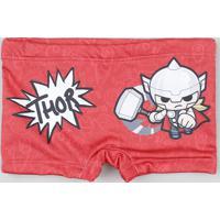 Sunga Infantil Boxer Thor Com Proteção Uv50+ Vermelho