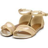 Sandália Infantil Bibi Ouro Branco De Glitter Little Me 1104078 37