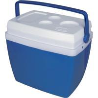 Caixa Térmica 34 Litros Com Alça E Porta Copos Na Tampa - Mor Azul