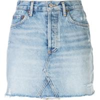 Agolde Saia Jeans Com Barra Desfiada - Azul