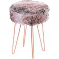 Puff Glamour- Mescla & Rosê Gold- 40Xø28Cm- Or Dor Design
