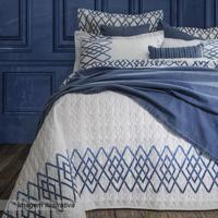 Jogo De Cama Blue Queen Size- Branco & Azul- 4Pã§S