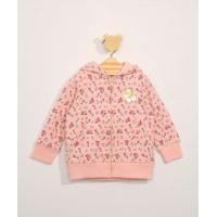 Blusão De Moletom Infantil Estampado Floral Com Capuz E Bolsos Rosa