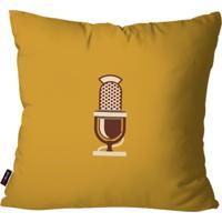 Almofada Decorativa Avulsa Ocre Retrô Microfone 45X45Cm