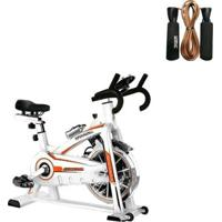 Bike Spinning Oneal Tp1100 Semi Profissional + Corda De Pular Couro Com Rolamento 2,65M Liveup - Unissex