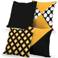 Kit 4 Capas De Almofadas Decorativas Own Geométricas Yellow 45X45 - Somente Capa