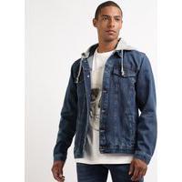 Jaqueta Jeans Masculina Strong Com Capuz Em Moletom Azul Escuro
