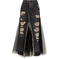 Unravel Project Saia Jeans Midi Com Recortes - Preto