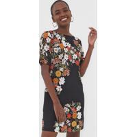 Vestido Dress To Curto Buquê Preto - Kanui