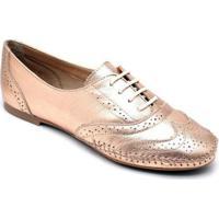 Sapato Oxford Q&A Cobre Feminino - Feminino-Cobre