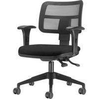 Cadeira Zip Tela Assento Crepe Preto Base Rodizio Piramidal Em Nylon - 54410 - Sun House