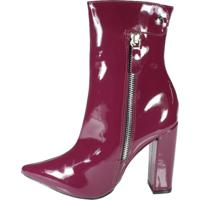 Bota Week Shoes Cano Baixo Salto Grosso Marsala