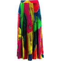 Msgm Abstract Print Pleated Skirt - Vermelho