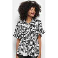 Blusa Top Moda Animal Print Zebra Amarração Feminina - Feminino-Branco