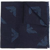 Emporio Armani Cachecol Com Padronagem De Logo - Azul
