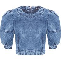 Blusa Feminina Cropped Jeans - Azul