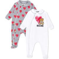 Moschino Kids Conjunto De Macacões Com Logo - Cinza