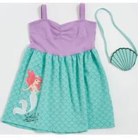 Vestido Infantil Estampa Princesa Brinde Bolsa Marisa