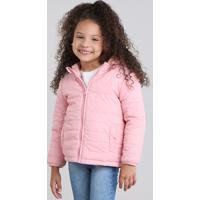 Jaqueta Infantil Puffer Com Capuz Rosa