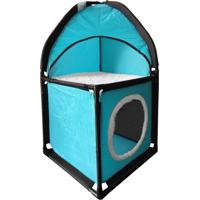 Cama Casinha Toca Caixa Túnel Para Gato Pet Azul 69 X 36 Cm