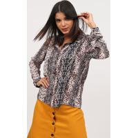 Camisa Animal Print- Ros㪠& Preta- Milioremiliore