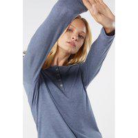 Blusa Canelado Mistura Modal Mangas Compridas - Azul G