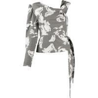 Three Floor Blusa Ombro Único Com Padronagem Xadrez - Branco