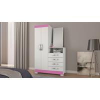 Cômoda Notável Nt 5040 C/Espelho 2 Porta 4 Gavetas Branco Rosa