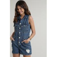 Macaquinho Jeans Feminino Com Bolsos E Rasgos Sem Manga Azul Escuro