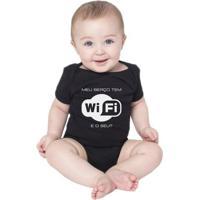 Body Bebe Frases Nerd Geek Wifi Conectado Criativa Urbana - Unissex-Preto