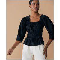 Amaro Feminino Blusa De Decote Quadrado Com Elásticos Na Cintura, Preto