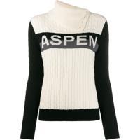 Perfect Moment Suéter Super Stripes Com Gola Alta - Branco