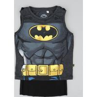 Regata Infantil Carnaval Batman Com Capa Cinza Mescla Escuro
