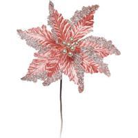 Flor Decorativa Poinsettia- Salmã£O & Dourada- 40X20Xcromus