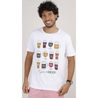 Camiseta Masculina Tipos De Cervejas Manga Curta Gola Careca Branca