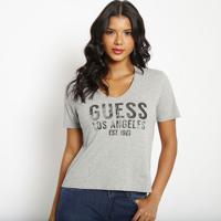 """Blusa """"Guessâ® Los Angeles""""- Cinza & Preta- Guessguess"""