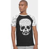 Camiseta Sumemo Estampa Masculina - Masculino-Preto+Branco