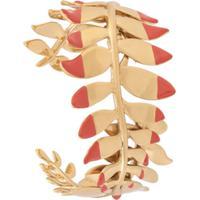 Tory Burch Bracelete Fern Cuff Folhagem - Dourado