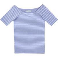 Blusa Básica Em Malha De Algodão Com Decote Canoa Feminina - Feminino-Lilás
