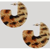 Brinco Feminino De Argola Acrílica Animal Print Bege - Único