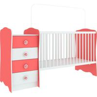 Berço Com Mesa De Cabeceira Baby Estrela Branca E Rosa
